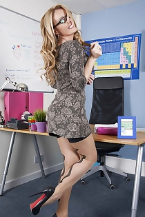 European MILF Teacher Stacey Saran Strips